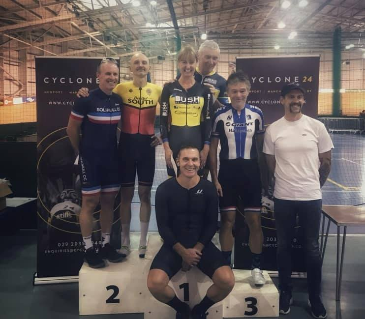 Age category winners at the Cyclone24 Track League at Newport